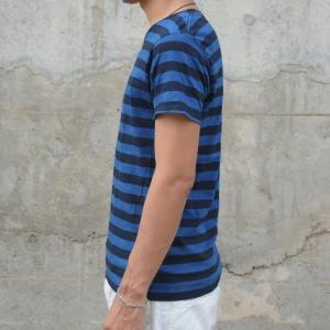 藍染め Tシャツ 半袖 ボーダー 琉球藍染め メンズ|studio-ichi|03