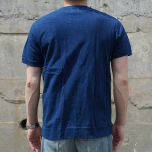 藍染め Tシャツ 半袖 サイドパネル ヘビーウェイト 琉球藍染め メンズ|studio-ichi|03
