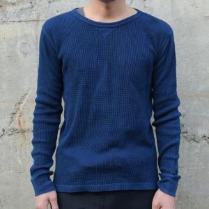 メンズ 藍染め サーマル ロンT ワッフル 長袖 ヘビーウェイト 男性 スリム|studio-ichi|02