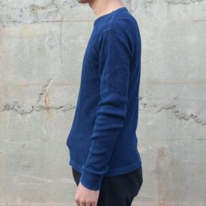 メンズ 藍染め サーマル ロンT ワッフル 長袖 ヘビーウェイト 男性 スリム|studio-ichi|03