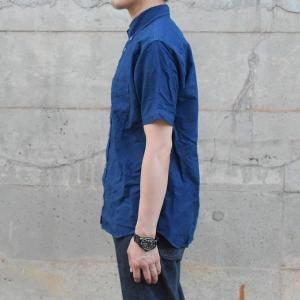 半袖 オックスフォードシャツ ボタンダウン 琉球藍染め メンズ 藍染め  コットン|studio-ichi|03