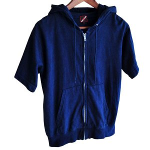 藍染め 半袖 ジップパーカー 琉球藍染め メンズ スウェット フード トレーナー|studio-ichi