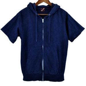 藍染め 半袖 ジップパーカー 琉球藍染め メンズ スウェット フード トレーナー|studio-ichi|02