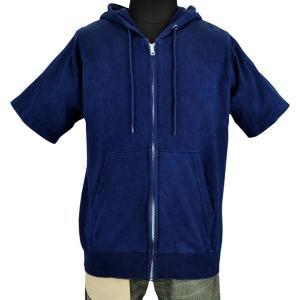 藍染め 半袖 ジップパーカー 琉球藍染め メンズ スウェット フード トレーナー|studio-ichi|03