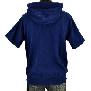 藍染め 半袖 ジップパーカー 琉球藍染め メンズ スウェット フード トレーナー|studio-ichi|05