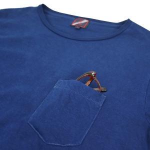 ポケットTシャツ 半袖 薄手 着心地 コットン 藍染め 琉球藍染め メンズ スリム|studio-ichi|03
