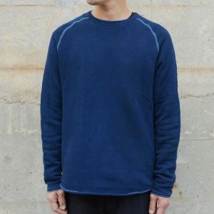 メンズ 藍染め クルーネック カットオフ スウェット トレーナー ゆるい 大きいサイズ|studio-ichi|02