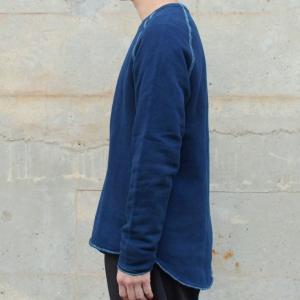 メンズ 藍染め クルーネック カットオフ スウェット トレーナー ゆるい 大きいサイズ|studio-ichi|03