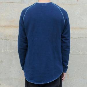 メンズ 藍染め クルーネック カットオフ スウェット トレーナー ゆるい 大きいサイズ|studio-ichi|04
