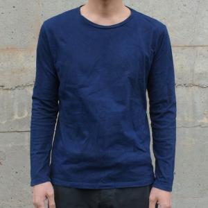 メンズ 藍染め ロンT ロングスリーブ Tシャツ 長袖|studio-ichi|02