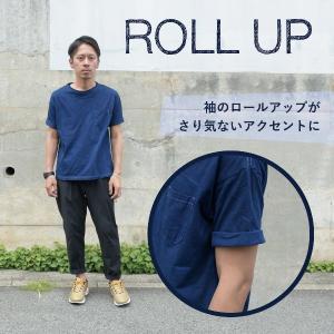 メンズ 藍染め ビッグシルエット BigTシャツ 半袖 ポケット ロールアップ プレゼント ギフト|studio-ichi|02