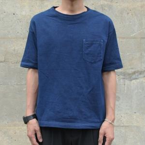 メンズ 藍染め ビッグシルエット BigTシャツ 半袖 ポケット ロールアップ プレゼント ギフト|studio-ichi|03