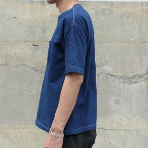 メンズ 藍染め ビッグシルエット BigTシャツ 半袖 ポケット ロールアップ プレゼント ギフト|studio-ichi|04
