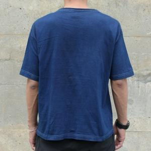 メンズ 藍染め ビッグシルエット BigTシャツ 半袖 ポケット ロールアップ プレゼント ギフト|studio-ichi|05