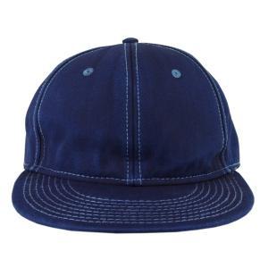 藍染め キャップ 帽子 インディゴ 野球帽 フラットバイザー ツイル メンズ レディース|studio-ichi|02