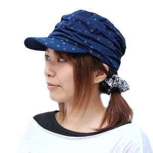 藍染め 水玉しわしわ ワークキャップ 帽子 レディース プレゼント ギフト|studio-ichi|05