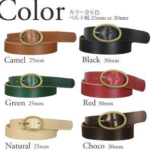 楕円 真鍮バックル レザー ベルト ヌメ革 メンズ レディース|studio-ichi|02