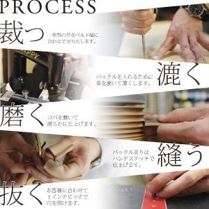 楕円 真鍮バックル レザー ベルト ヌメ革 メンズ レディース|studio-ichi|04