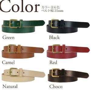 25mm 真鍮バックル レザー ベルト ヌメ革 メンズ レディース|studio-ichi|02