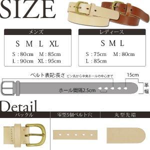 30mm 真鍮バックル レザー ベルト ヌメ革 メンズ レディース|studio-ichi|03