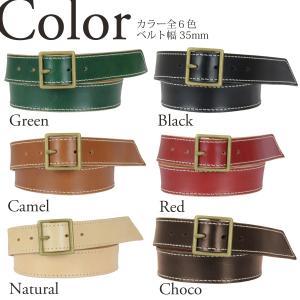 ステッチ 35mm 真鍮バックル レザー ベルト ヌメ革 メンズ レディース|studio-ichi|02
