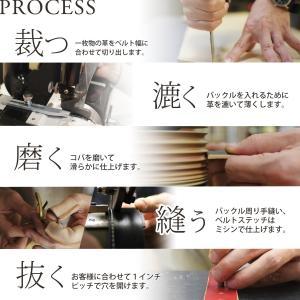 ステッチ 35mm 真鍮バックル レザー ベルト ヌメ革 メンズ レディース|studio-ichi|04