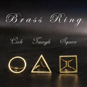 真鍮 丸 三角 四角 リング サークル トライアングル スクエア ゴールド プレゼント ギフト|studio-ichi