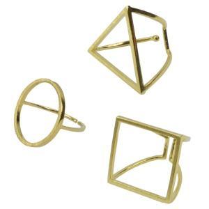真鍮 丸 三角 四角 リング サークル トライアングル スクエア ゴールド プレゼント ギフト|studio-ichi|02