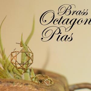 真鍮 オクタゴン 八角形 ピアス ゴールド ペア プレゼント ギフト 可愛い|studio-ichi