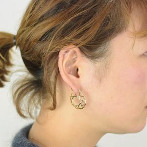 真鍮 オクタゴン 八角形 ピアス ゴールド ペア プレゼント ギフト 可愛い|studio-ichi|04