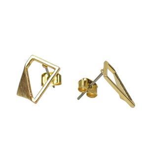 四角 三角 真鍮 ピアス レクタングル チタン ゴールド ペア レディース|studio-ichi|02