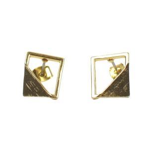 四角 三角 真鍮 ピアス レクタングル チタン ゴールド ペア レディース|studio-ichi|03