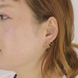 四角 三角 真鍮 ピアス レクタングル チタン ゴールド ペア レディース|studio-ichi|04