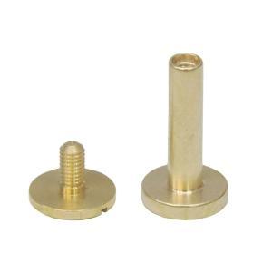 真鍮 生地 組ネジ Lサイズ シカゴスクリュー 螺子 ネジ式 マイナス 金具 パーツ 金色 古美金 キーホルダーパーツ|studio-ichi