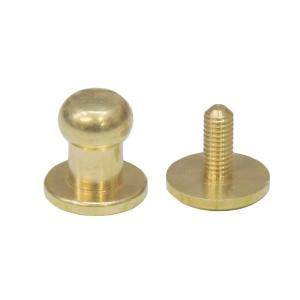 真鍮 生地 ギボシ 大サイズ ネジ式 マイナス 金具 パーツ 金色 古美金 留め具 ボタン レザークラフト|studio-ichi