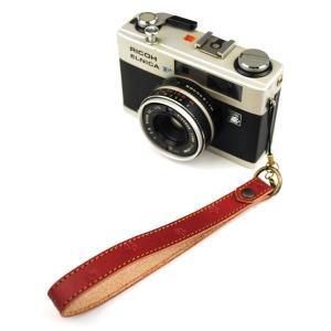 ヌメ革 カメラハンドストラップ 小桜柄