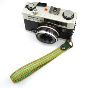 【和柄カメラハンドストラップ!】【2緑縞】アンティーク着物の柄がレトロな和柄カメラストラップ!|studio-ichi