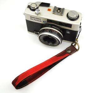 【和柄カメラハンドストラップ!】【3赤黒】 アンティーク着物の柄がレトロな和柄カメラストラップ!|studio-ichi