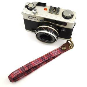 【和柄カメラハンドストラップ!】【4紺赤縞】 アンティーク着物の柄がレトロな和柄カメラストラップ!|studio-ichi