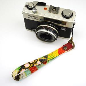 【和柄カメラハンドストラップ!】【9赤葉】アンティーク着物の柄がレトロな和柄カメラストラップ!|studio-ichi