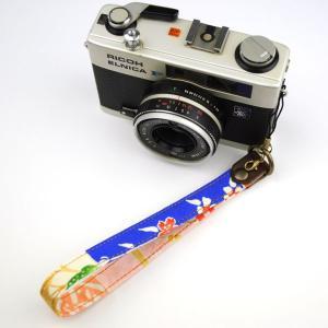 【和柄カメラハンドストラップ!】【23青桜】 アンティーク着物の柄がレトロな和柄カメラストラップ!|studio-ichi