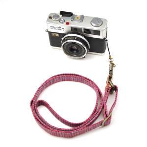 【敬老の日 ギフト】 和柄ネックストラップ!4赤紺縞 アンティーク着物で製作したレトロなカメラストラップ!|studio-ichi