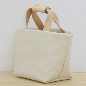 1号帆布 トートバッグ Sサイズ 横長 canvas キャンバス 極厚 ヌメ革 シンプル 綿 コットン 名入れ 刻印|studio-ichi|02