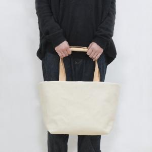1号帆布 トートバッグ Mサイズ 横長 canvas キャンバス 極厚 ヌメ革 シンプル 綿 コットン 名入れ 刻印|studio-ichi|04