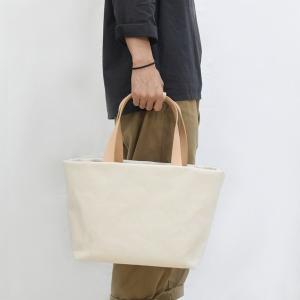 1号帆布 トートバッグ Mサイズ 横長 canvas キャンバス 極厚 ヌメ革 シンプル 綿 コットン 名入れ 刻印|studio-ichi|06