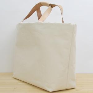 1号帆布 トートバッグ LLサイズ 横長 canvas キャンバス 極厚 ヌメ革 シンプル 綿 コットン 名入れ 刻印|studio-ichi|02
