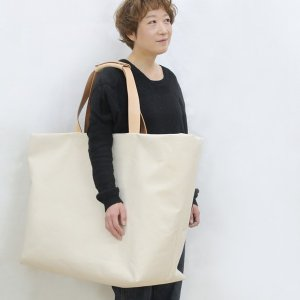 1号帆布 トートバッグ LLサイズ 横長 canvas キャンバス 極厚 ヌメ革 シンプル 綿 コットン 名入れ 刻印|studio-ichi|06