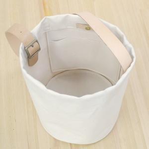 1号帆布 バケット 2WAY 鞄 ショルダーバッグ トートバッグ 円柱 canvas キャンバス 極厚 ヌメ革 シンプル 綿 コットン 名入れ 刻印|studio-ichi|02