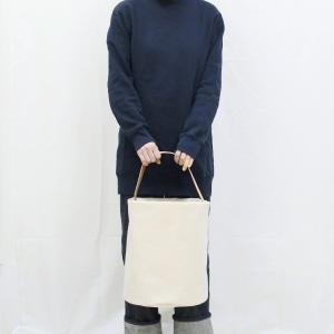 1号帆布 バケット 2WAY 鞄 ショルダーバッグ トートバッグ 円柱 canvas キャンバス 極厚 ヌメ革 シンプル 綿 コットン 名入れ 刻印|studio-ichi|05