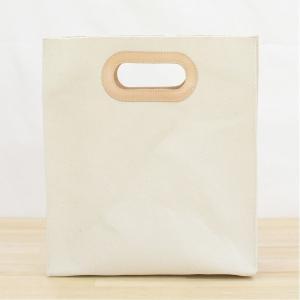 1号帆布 ペーパーバッグ Sサイズ トートバッグ canvas キャンバス 極厚 ヌメ革 シンプル 綿 コットン 名入れ 刻印 studio-ichi 02